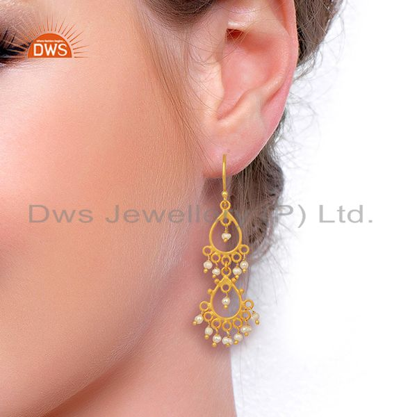 Wholesalers Pearl Beads 18K Yellow Gold Plated Sterling Silver Earrings Jewelry