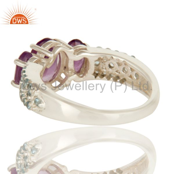 Wholesalers 925 Sterling Silver Amethyst And Blue Topaz Three Stone Halo Style Ring
