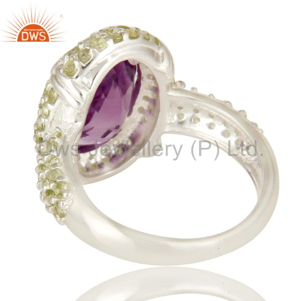 Wholesalers 925 Sterling Silver Amethyst And Peridot Gemstone Halo Style Cocktail Ring