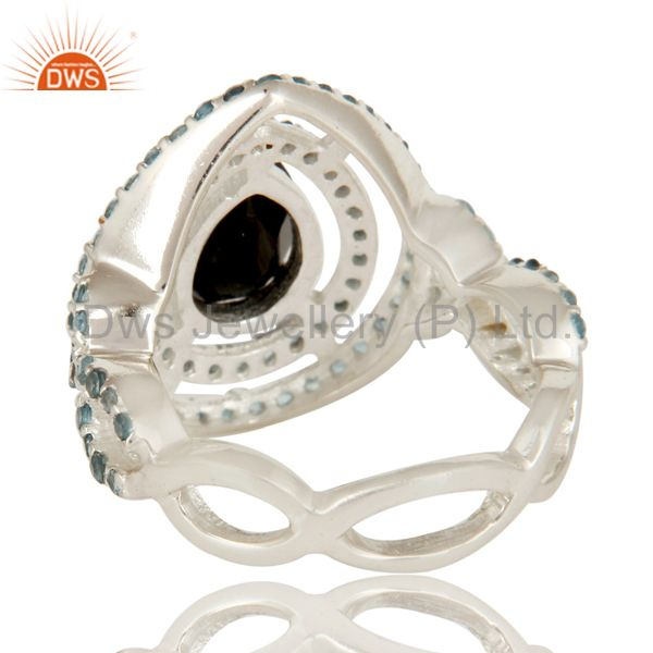Wholesalers 925 Sterling Silver Black Onyx And Blue Topaz Cluster Infinity Ring
