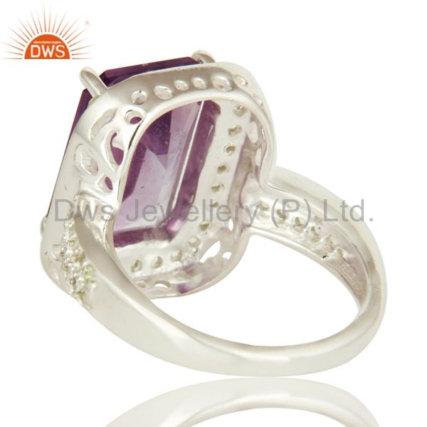 Wholesalers 925 Sterling Silver Amethyst And Peridot Gemstone Statement Halo Ring