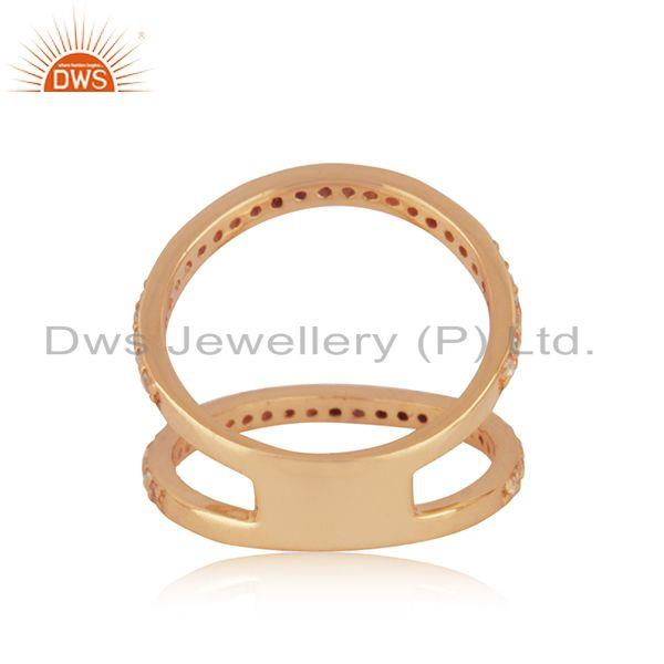 Wholesalers Designer Rose Gold Plated Silver White Topaz Ring Jewelry Manufacturer