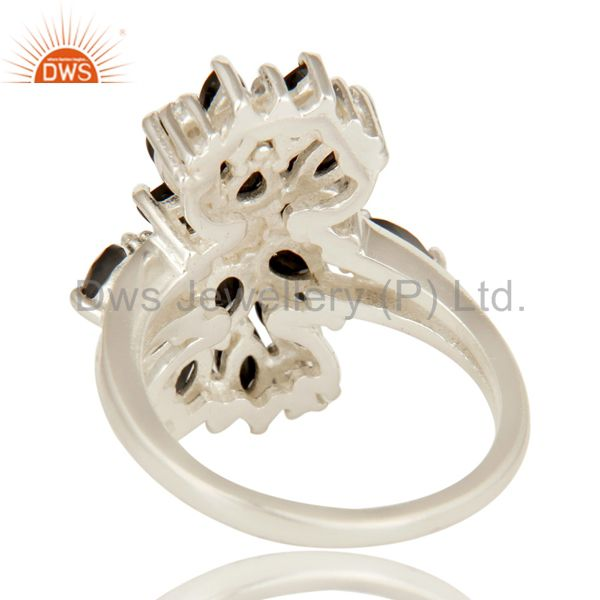 Wholesalers 925 Sterling Silver Black Onyx And White Topaz Gemstone Cluster Statement Ring