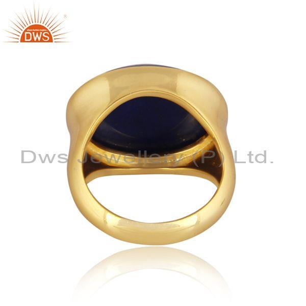 Lapis set gold on 925 sterling silver classic statement ring