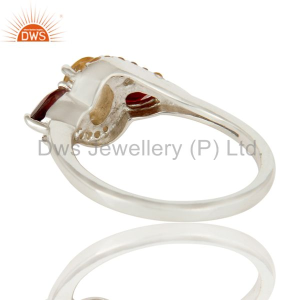 Wholesalers Solid Sterling Silver Garnet and Citrine Statement Ring Fine Gemstone Ring