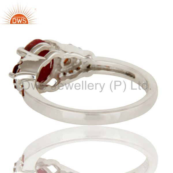 Wholesalers Natural Ruby and Garnet Sterling Silver Gemstone Halo Statement Ring