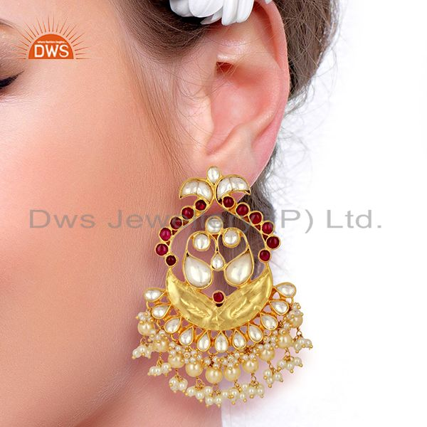 Wholesalers Kundan Polki With Pearl Drop 925 Sterling Silver Indian Traditional Jewelry
