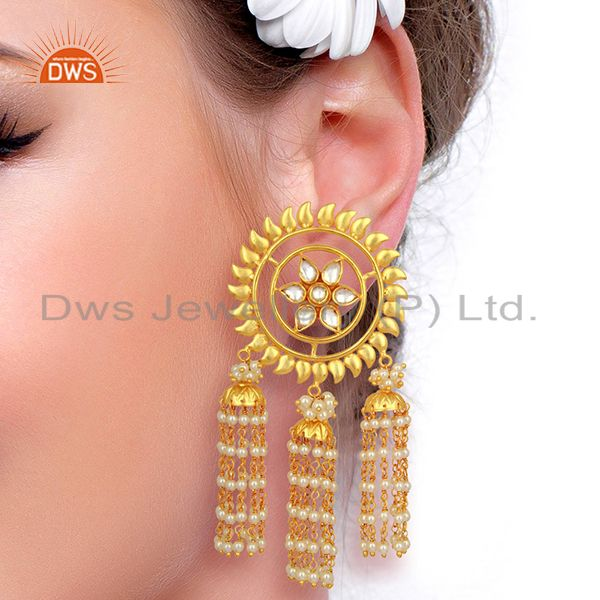 Wholesalers Kundan Polki With Multiple Jhumkas Sterling Silver Gold Plated Earring Jewelry