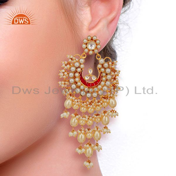 Wholesalers Kundan Polki With Pearl 925 Sterling Silver Gold Plated Chand Bali Earrings