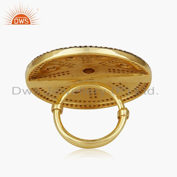 Wholesalers Crystal Quartz Victorian Style Gold Plated 925 Silver Cocktail Ring Manufacturer