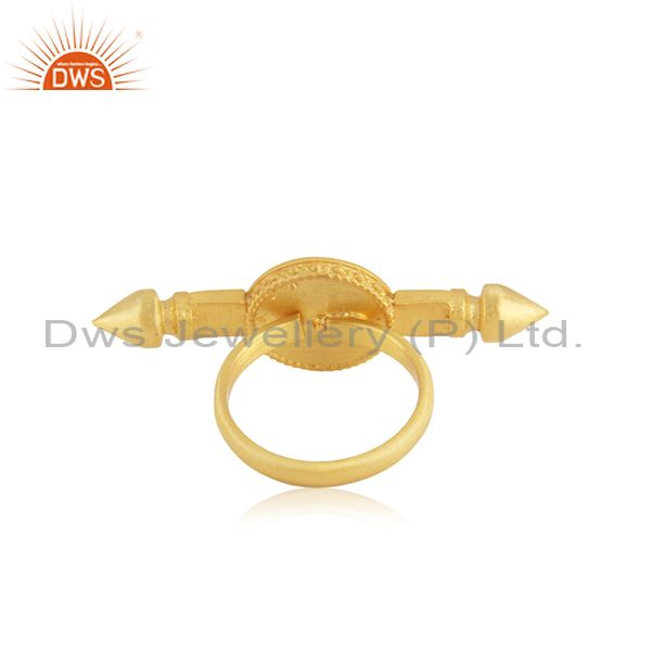 Wholesalers Yellow Gold Plated 925 Silver Plain Enamel Ring Jewelry Supplier