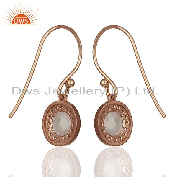 Wholesalers Round Crystal and Topaz Gemstone Rose Gold Silver Drop Earring Jewelry