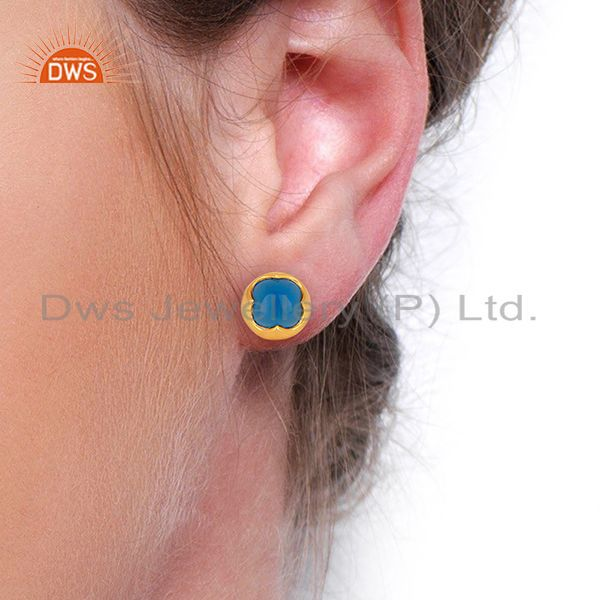 Wholesalers Blue Chalcedony Studs 18K Gold Plated 925 Sterling Silver Mini Earrings Jewelry