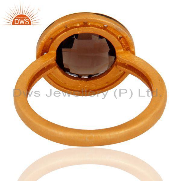 Wholesalers 18K Gold Over Sterling Silver Prong Set Smoky Quartz And Cubic Zirconia Ring