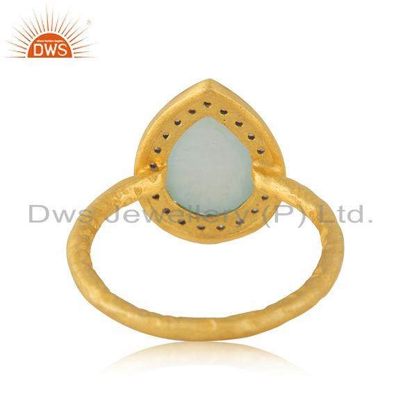 Wholesalers Aqua Chalcedony Gemstone 925 Silver Yellow Gold Plated Ring Manufacturer India