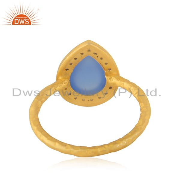 Wholesalers 18K Gold Over 925 Sterling Silver Blue Chalcedony Gemstone & White Zircon Ring