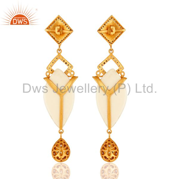 Wholesalers Gold Plated Crystal Cubic Zirconia Polki Victorian Estate Style Dangle Earrings