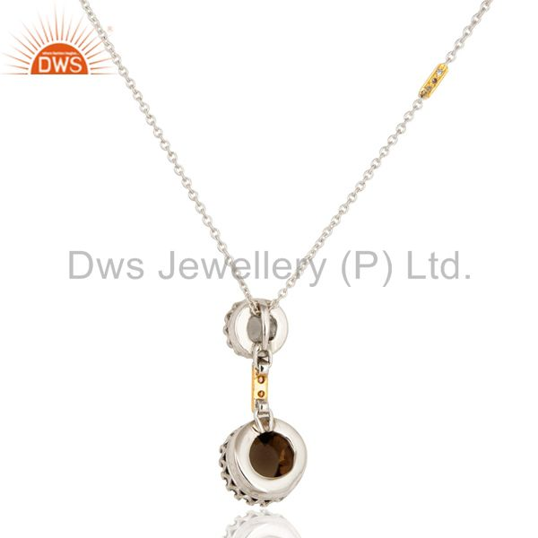 Wholesalers 18K Yellow Gold Smoky Quartz And Natural Diamond Pendant With Chain