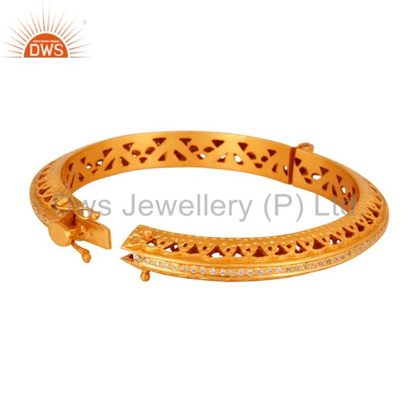 18k gold plated 925 silver cubic zirconia designer openable bangle Exporter