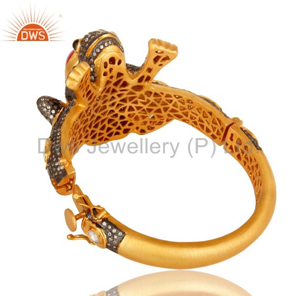 18k gold 925 silver druzy agate cz polki antique look frog bangle Exporter