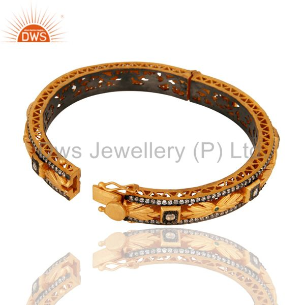 Wholesalers 18K Yellow Gold Plated Sterling Silver Cubic Zirconia Designer Openable Bangle