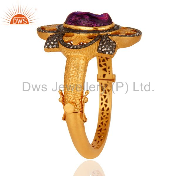 Wholesalers Titanium Druzy Sterling Silver With Gold Plated Fashion Openable Bangle