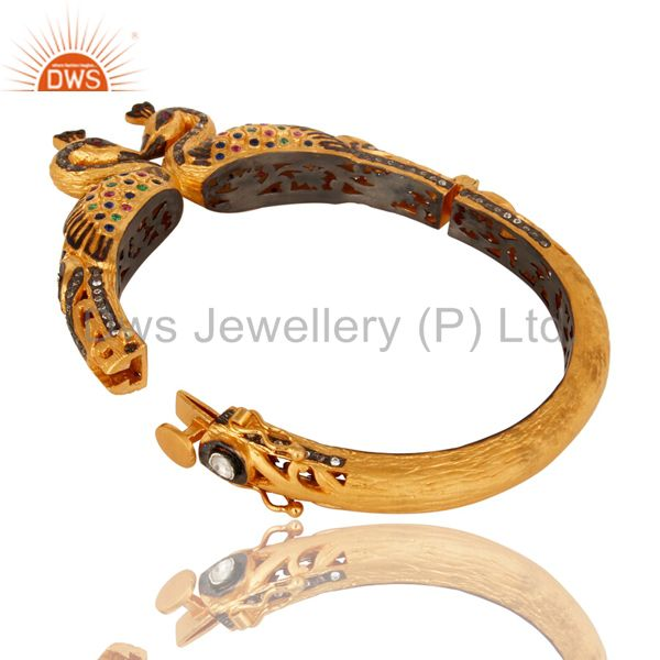 18k gold plated 925 silver mixed color cz double peacock bangle Exporter
