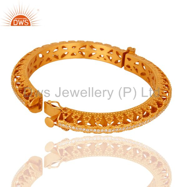 18k yellow gold plated 925 silver openable bangle cubic zirconia Exporter