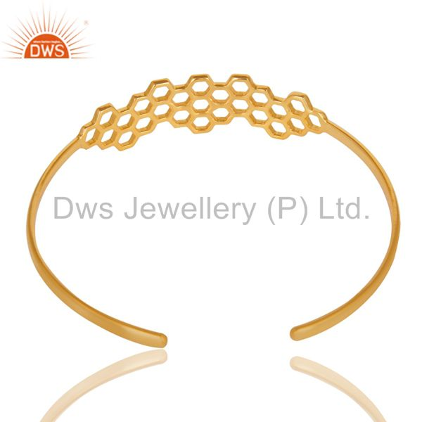 18k gold over 925 silver handmade new fashion openable palm bangle Exporter