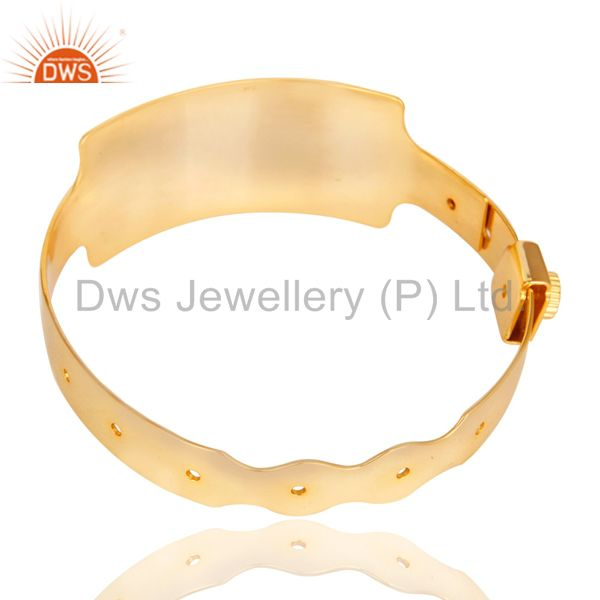 14k yellow gold plated 925 sterling silver handmade art wide bangle Exporter