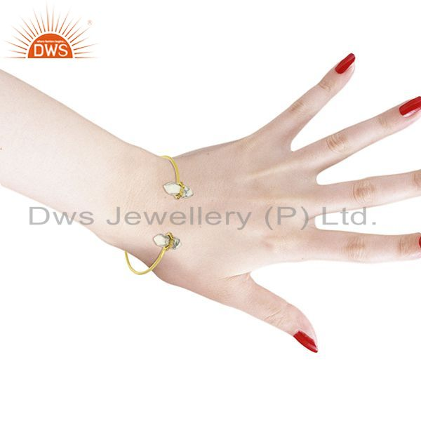 Wholesalers Howlite Pencil Point Healing Openable Adjustable Gold Plated Bangle