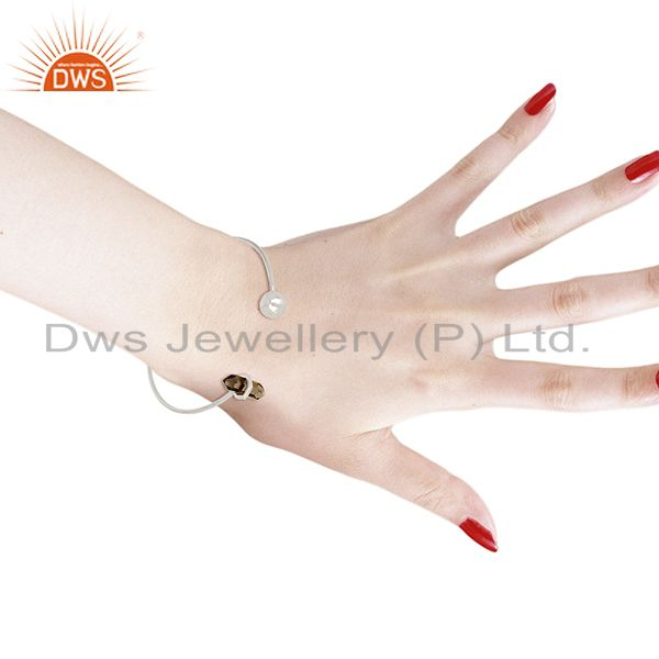 Wholesalers Smoky Topaz Double Terminated Pencil Point Sterling Silver Thin Openable Bangle
