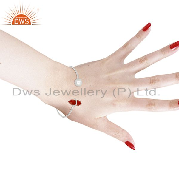 Wholesalers Red Onyx Double Terminated Pencil Point Openable Sterling Silver Bangle
