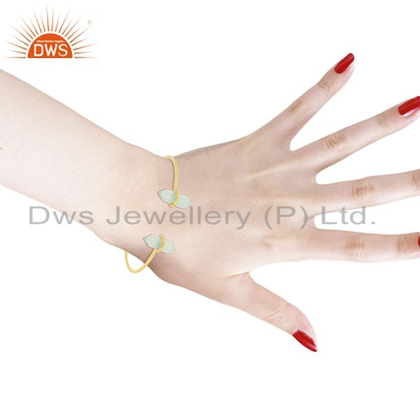 Wholesalers Aqua Chalcedony Terminated Pencil Point Openable Gold Plated Silver Bangle