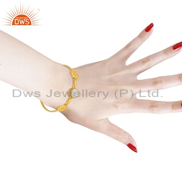 Wholesalers Mother of Pearl Gemstone Gold Plated Silver Cuff Bracelet Manufacturer