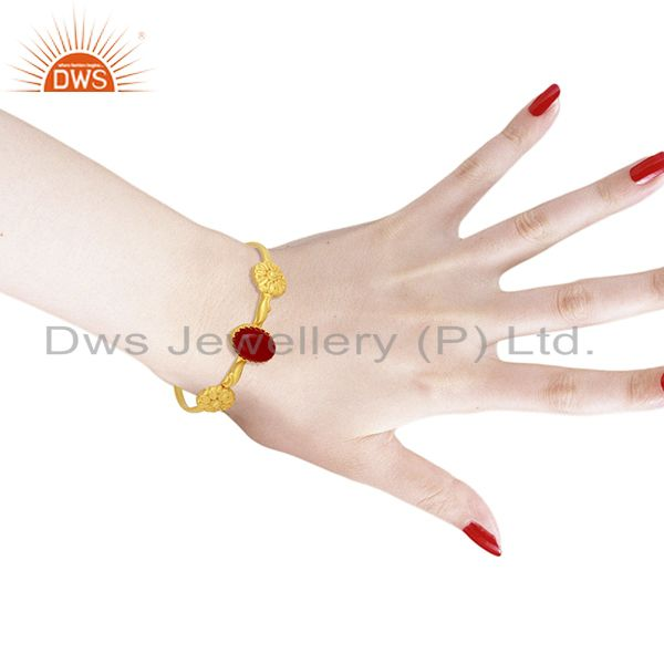 Wholesalers Red Aventurine Gemstone Gold Plated 925 Silver Cuff Bangle Bracelet