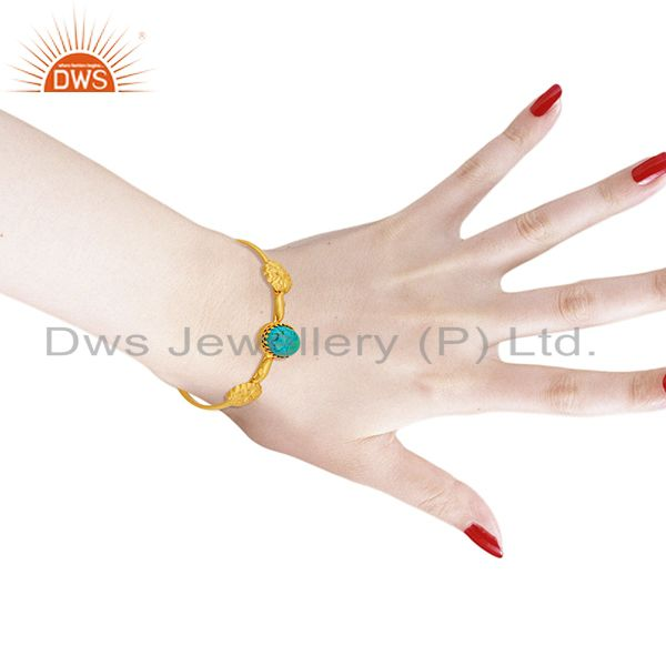 Wholesalers Natural Turquoise Gemstone Gold Plated Silver Fashion Cuff Bracelet