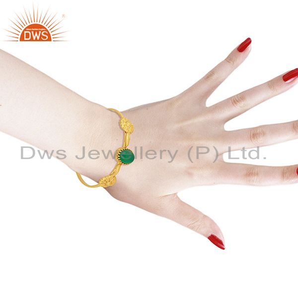 Wholesalers Handmade Gold Plated 925 Silver Green Onyx Gemstone Cuff Bangle