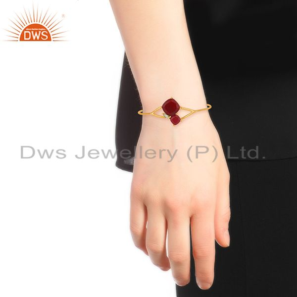 Designer of Designer Multi Gemstone Gold plated 925 Silver Cuff Bracelet Wholesale