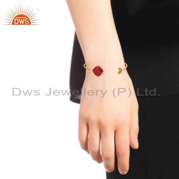 Designer of Handmade 925 Silver Gold Plated Multi Gemstone Cuff Bracelet Supplier