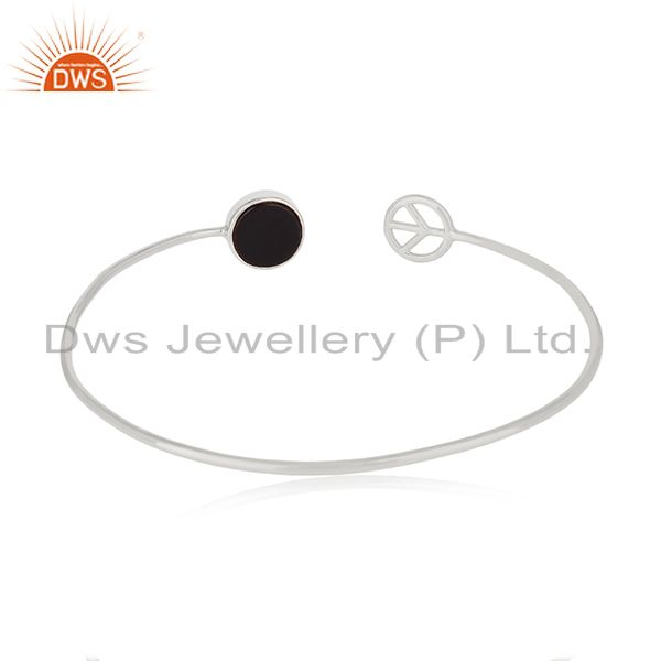 Customized peace sign 925 silver black onyx cuff bangle manufacturer Exporter