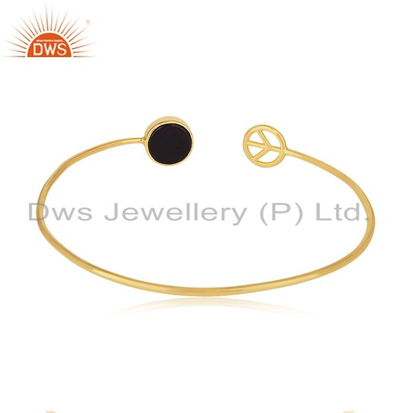 18k gold plated 925 silver onyx lucky peace sign charm cuff bangle Exporter