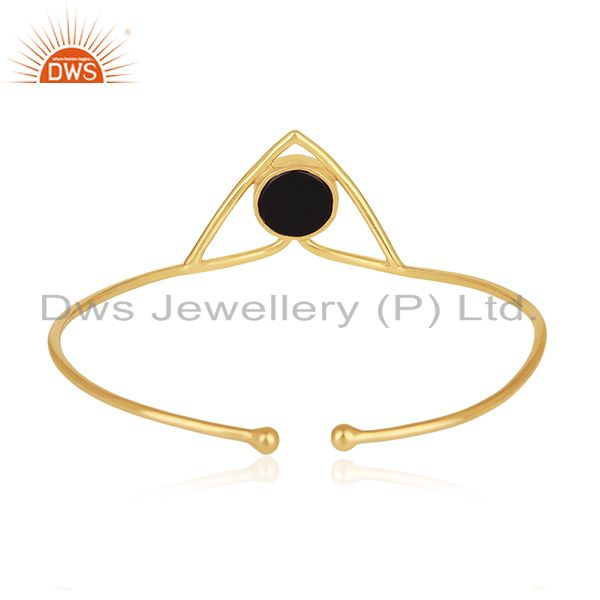 Peace design 925 silver gold plated black onyx gemstone cuff bangle Exporter