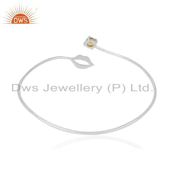 Lip design 925 silver natural citrine gemstone bangle manufacturer Exporter