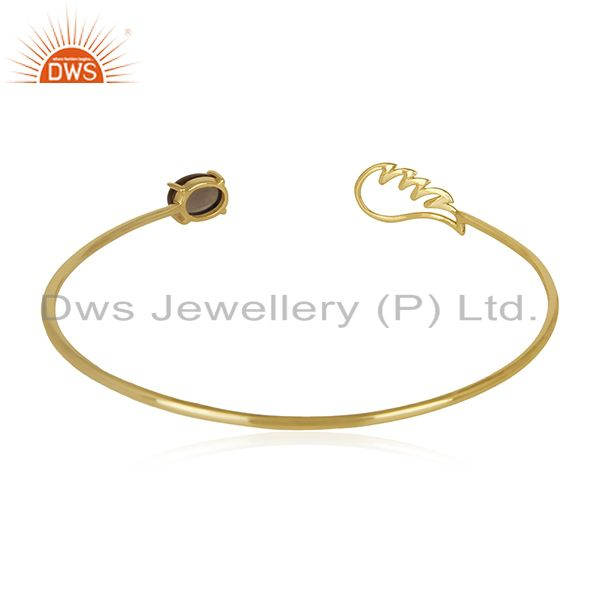 Exporter of Angle Wing 14k Gold Plated 925 Silver Smoky Quartz Cuff Bracelet Manufacturer