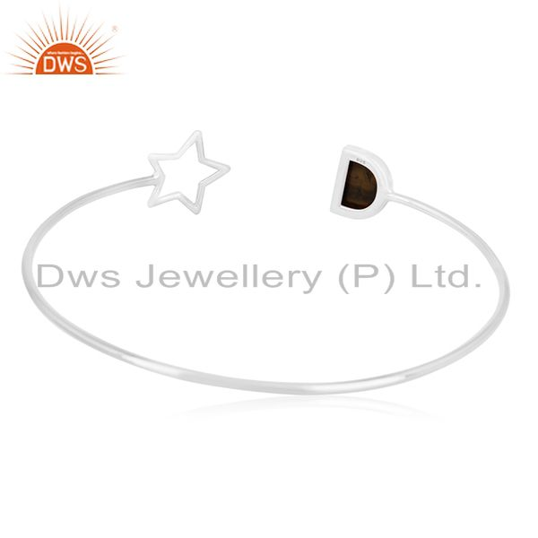 Wholesalers New Arrival Tiger Eye Gemstone 925 Silver Star Charm Cuff Bangle For Womens