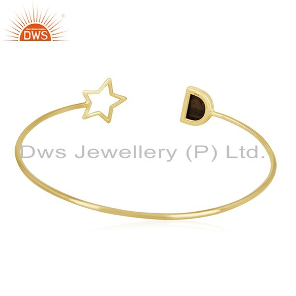 Wholesalers Tiger Eye Gemstone 925 Silver Gold Plated Star Charm Cuff Bracelet Manufacturers