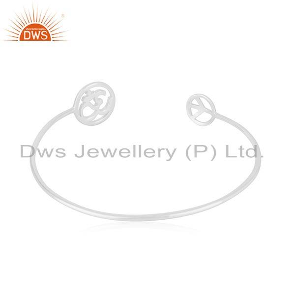Wholesalers Peace and Om Charm Fine 92.5 Sterling Silver Openable Cuff Bracelet Manufacturer