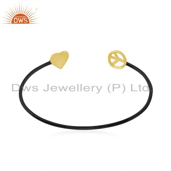 Wholesalers Yellow Gold Plated 925 Silver Heart Peace Charm Cuff Bracelet Manufacturer India