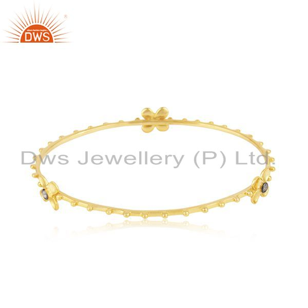 14k yellow gold plated 925 silver white zircon bangle manufacturer Exporter
